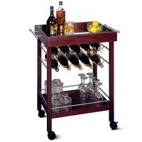 Winsome Wood Johnnie 10-Bottle Rolling Bar Cart with Shelf ...