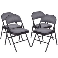 Black Padded Folding Chairs Nursery Costway Fabric Chair Set Of 4 Walmart Com