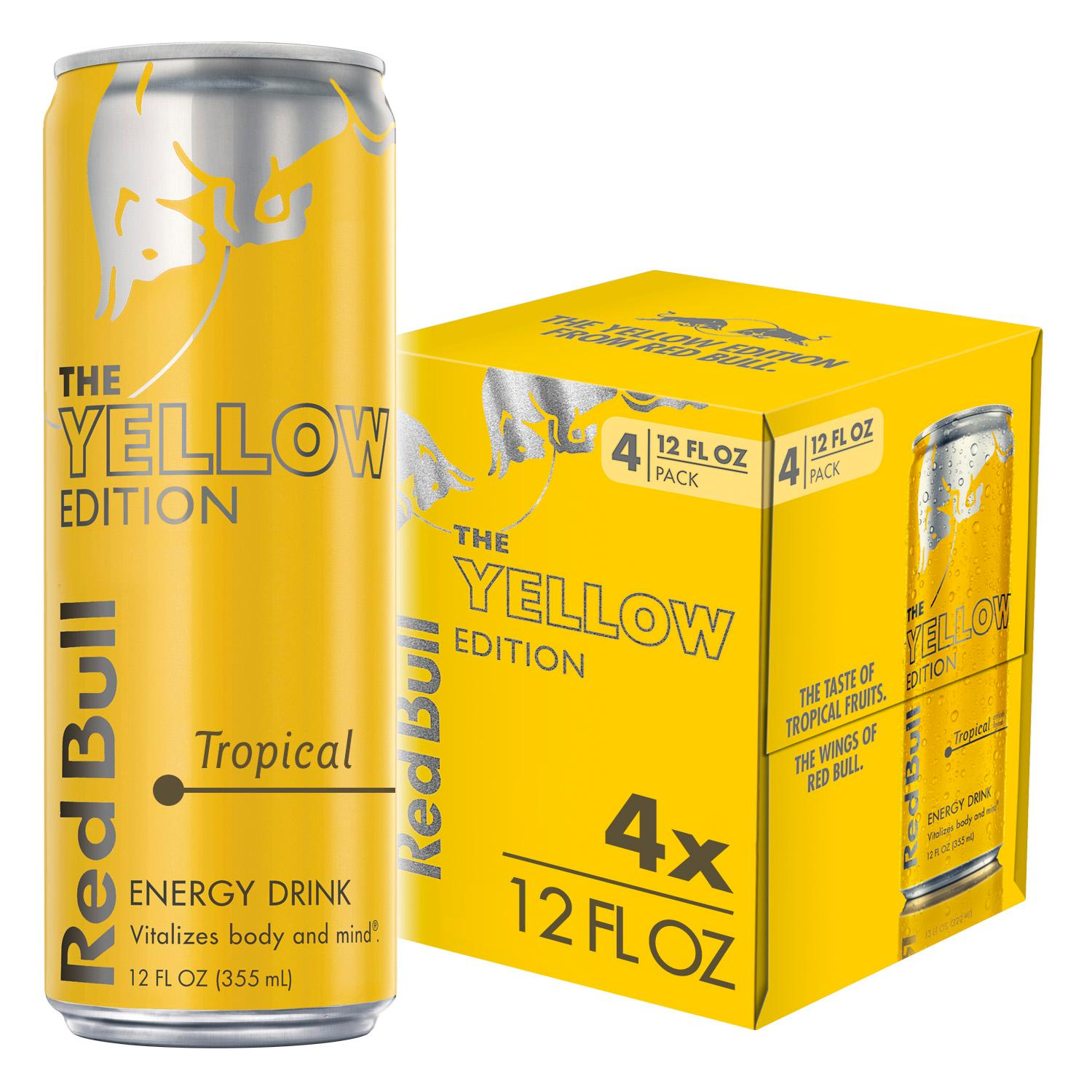 4 Cans Red Bull Energy Drink Tropical 12 Fl Oz Yellow