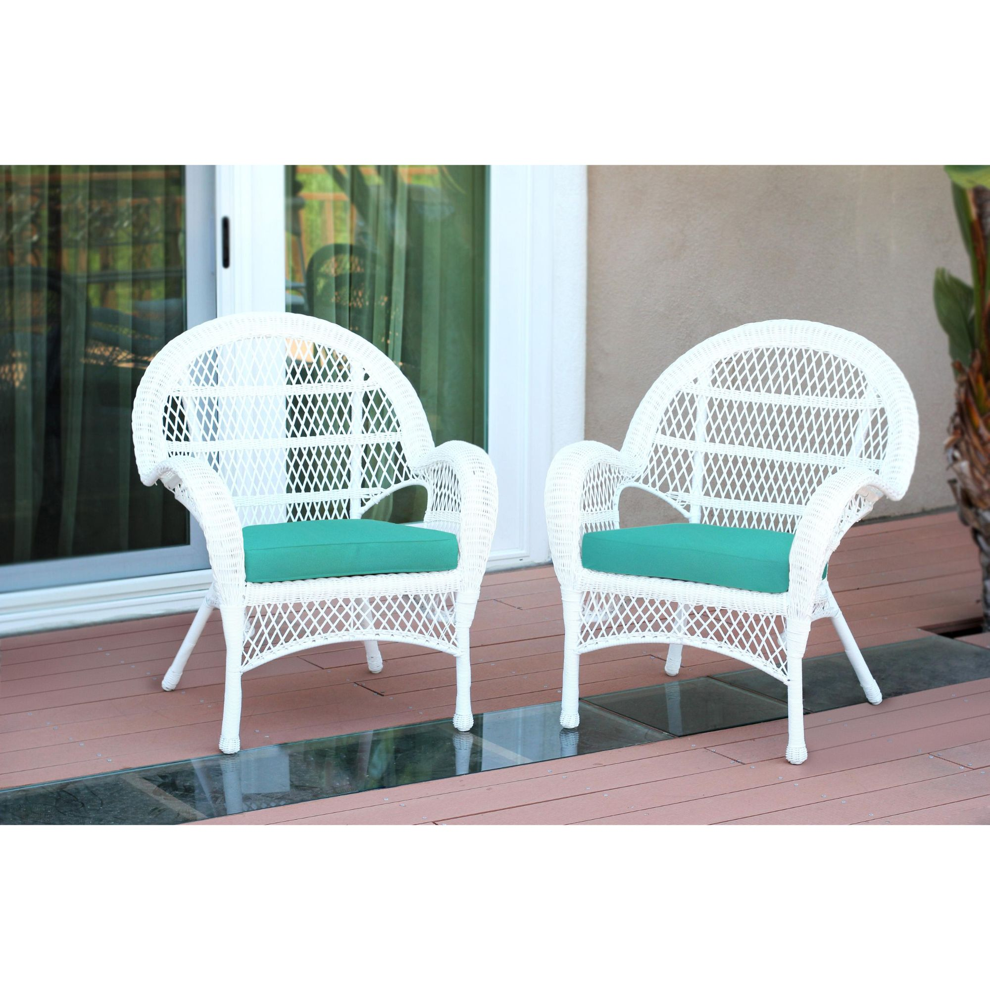 set of 2 white wicker outdoor furniture patio chairs turquoise cushions