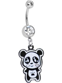 Body Candy - Clear Paw Print Tummy Panda Bear Dangle Belly ...