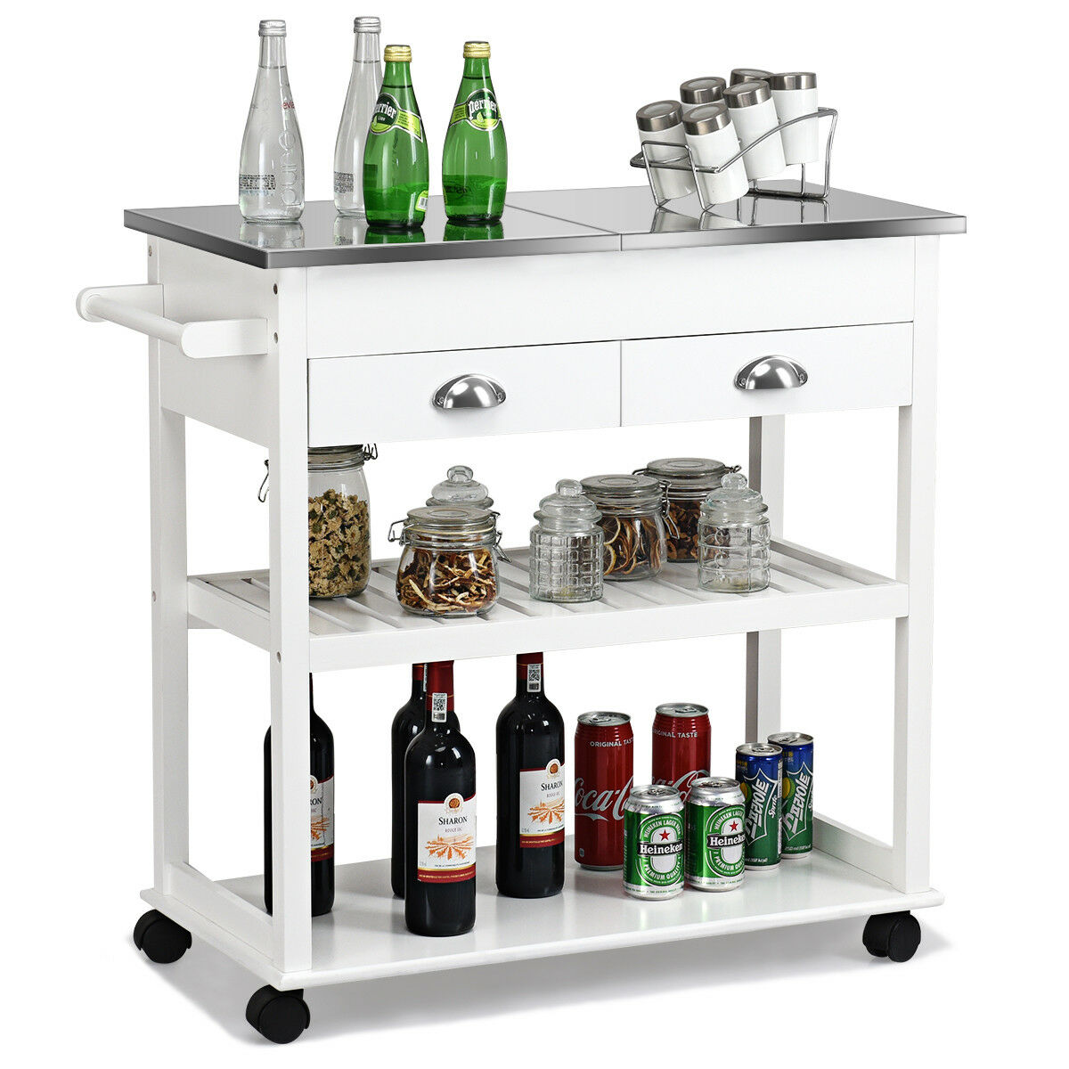 kitchen trolley cart how to make cabinet doors from plywood mobile stainless steel flip tabletop w drawers casters new walmart com