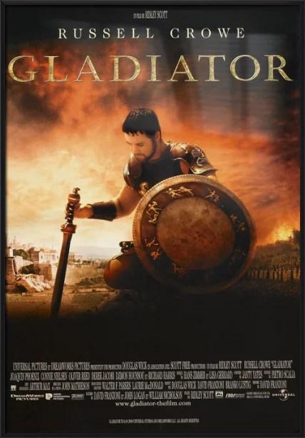 gladiator framed french movie poster print kneeling size 27 x 39