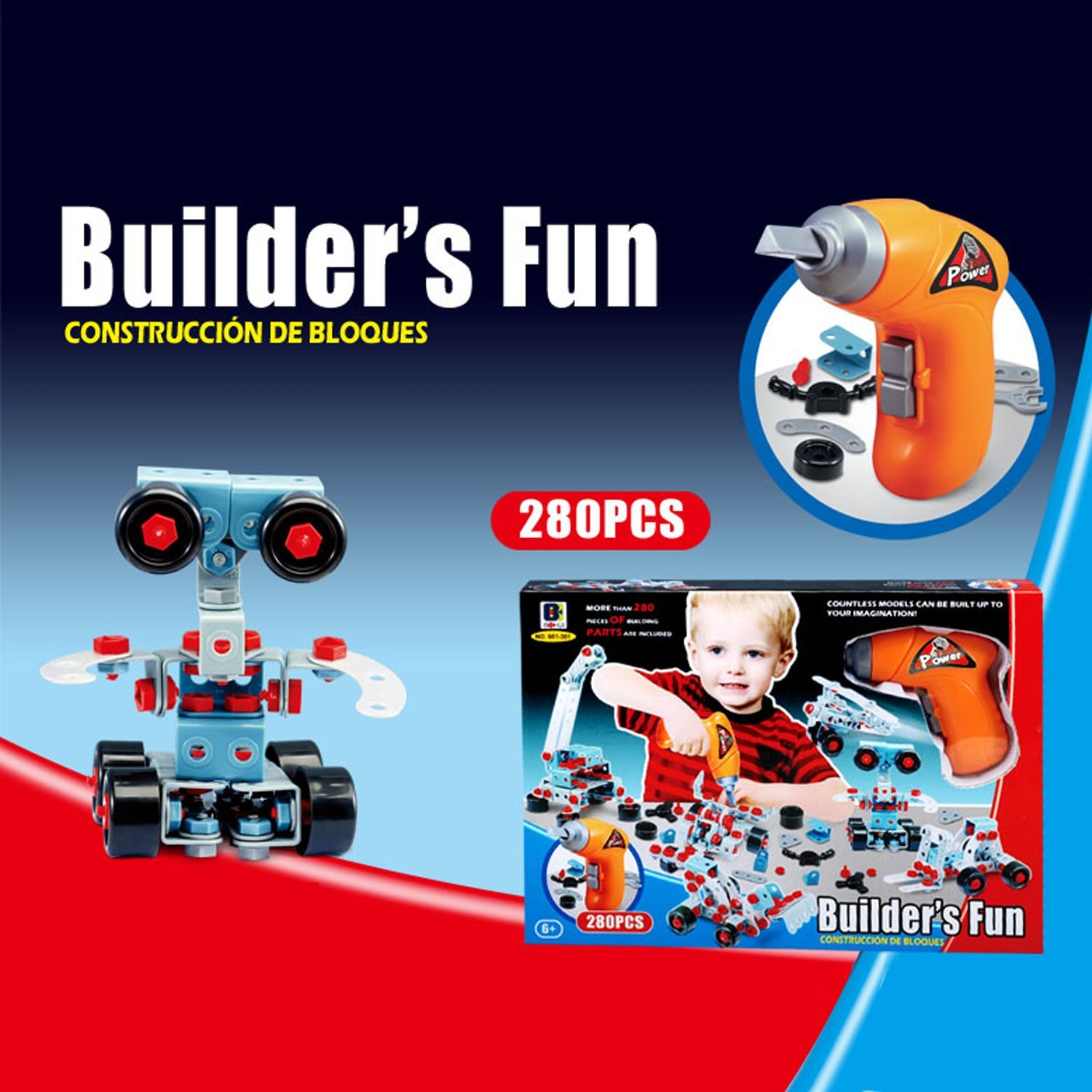 280 Piece Educational Construction Engineering Toy Drill