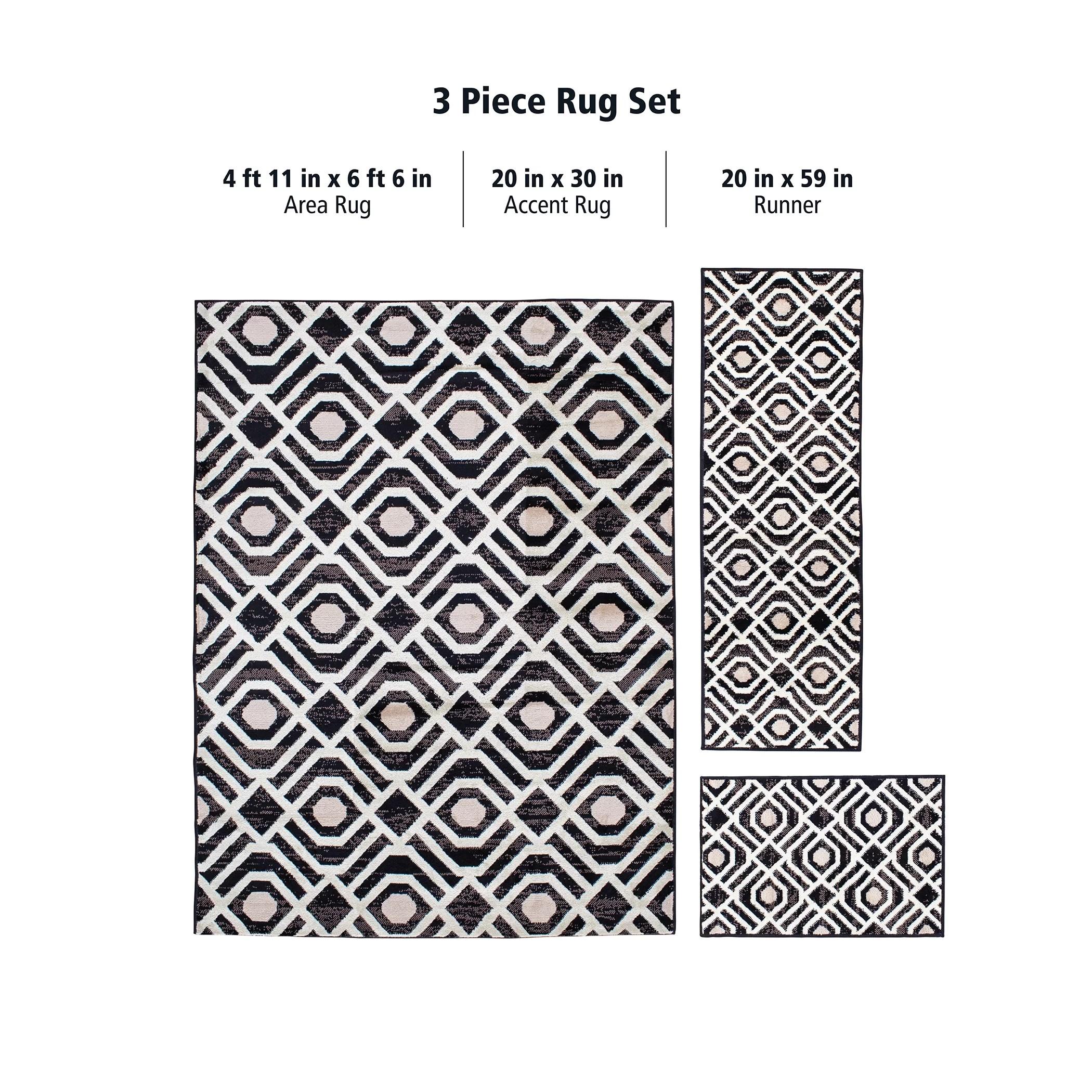 mainstays geometric indoor 3 piece area rug set black
