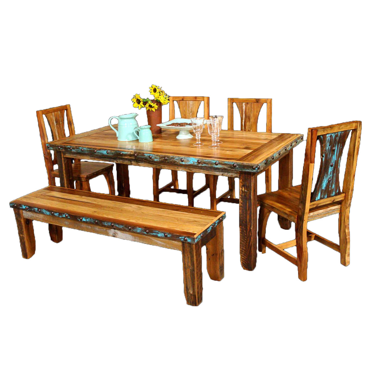 Western Chairs Barnwood Azul Table Western Chairs With Bench And Nailheads 6