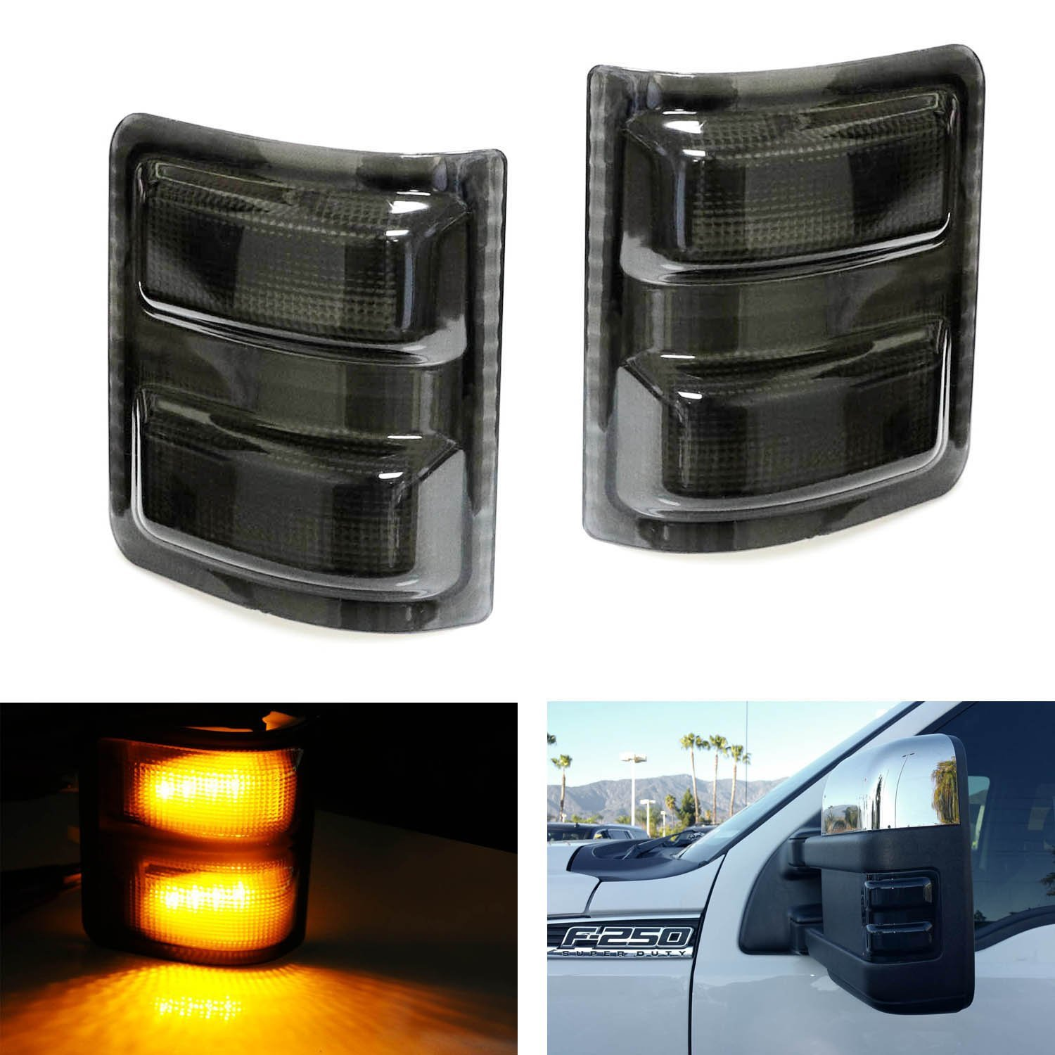 hight resolution of ijdmtoy 2pcs smoked lens led side mirror marker lights for 2008 2016 ford f250 f350 f450 f550 super duty walmart com