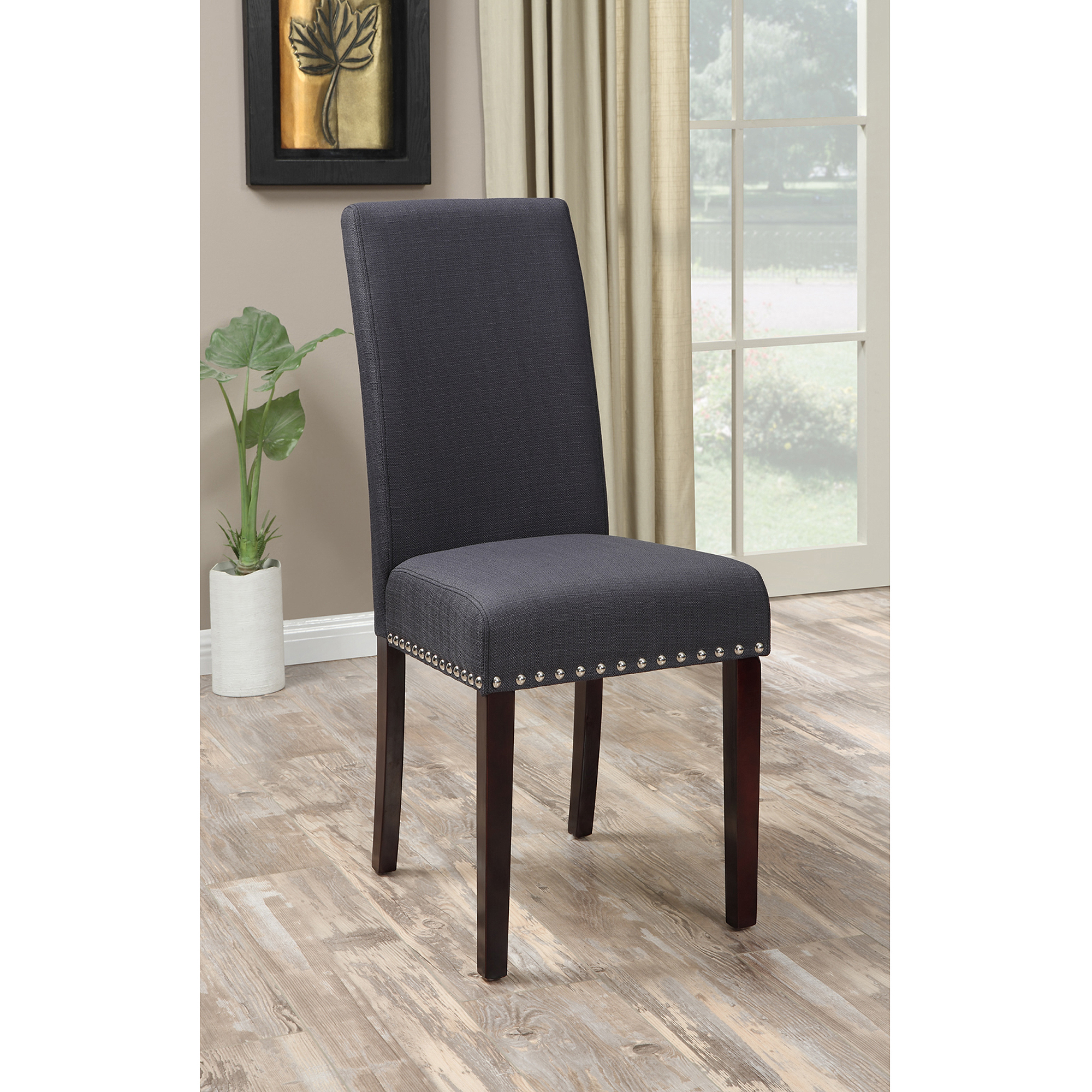 Restaurant Chairs And Tables Dhi Nice Nail Head Upholstered Dining Chair 2 Pack Multiple Colors