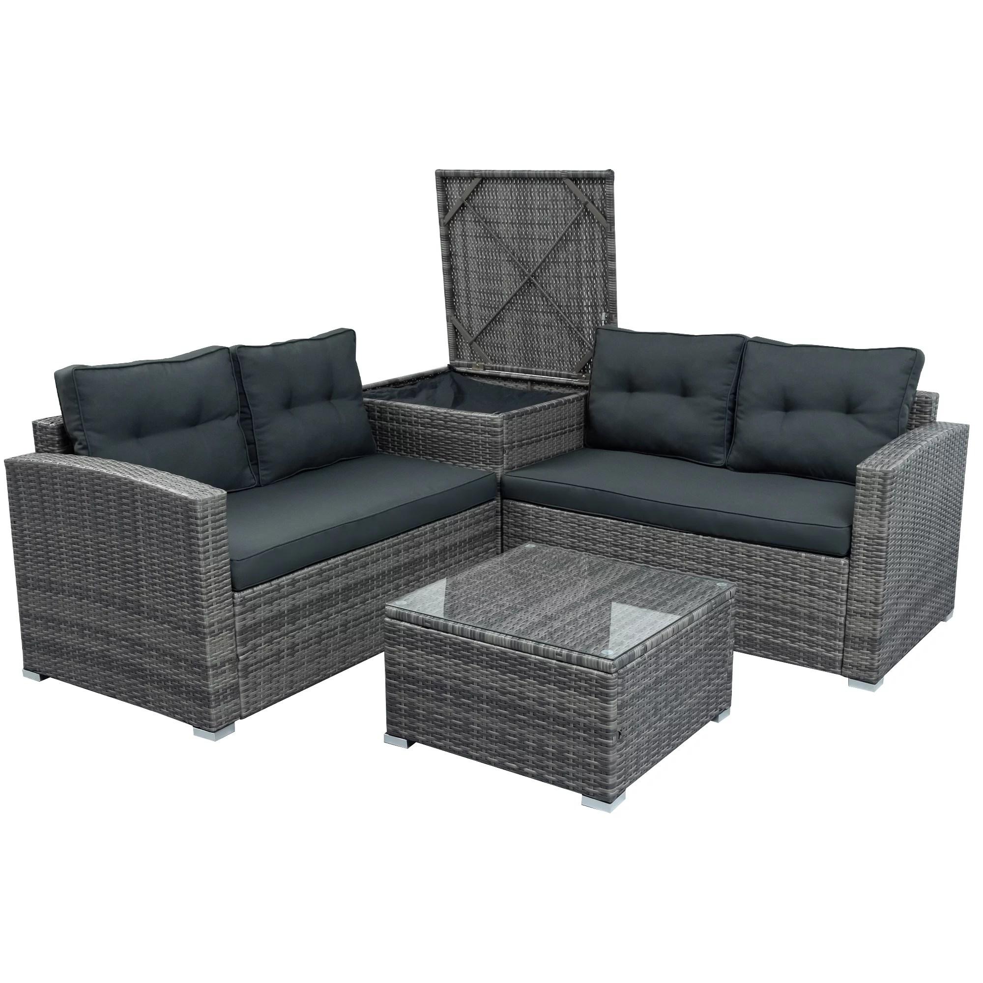 gray wicker patio furniture sets on for backyard 2020 upgrade new 4 piece wicker conversation set w l seats sofa r seats sofa single sofa tempered