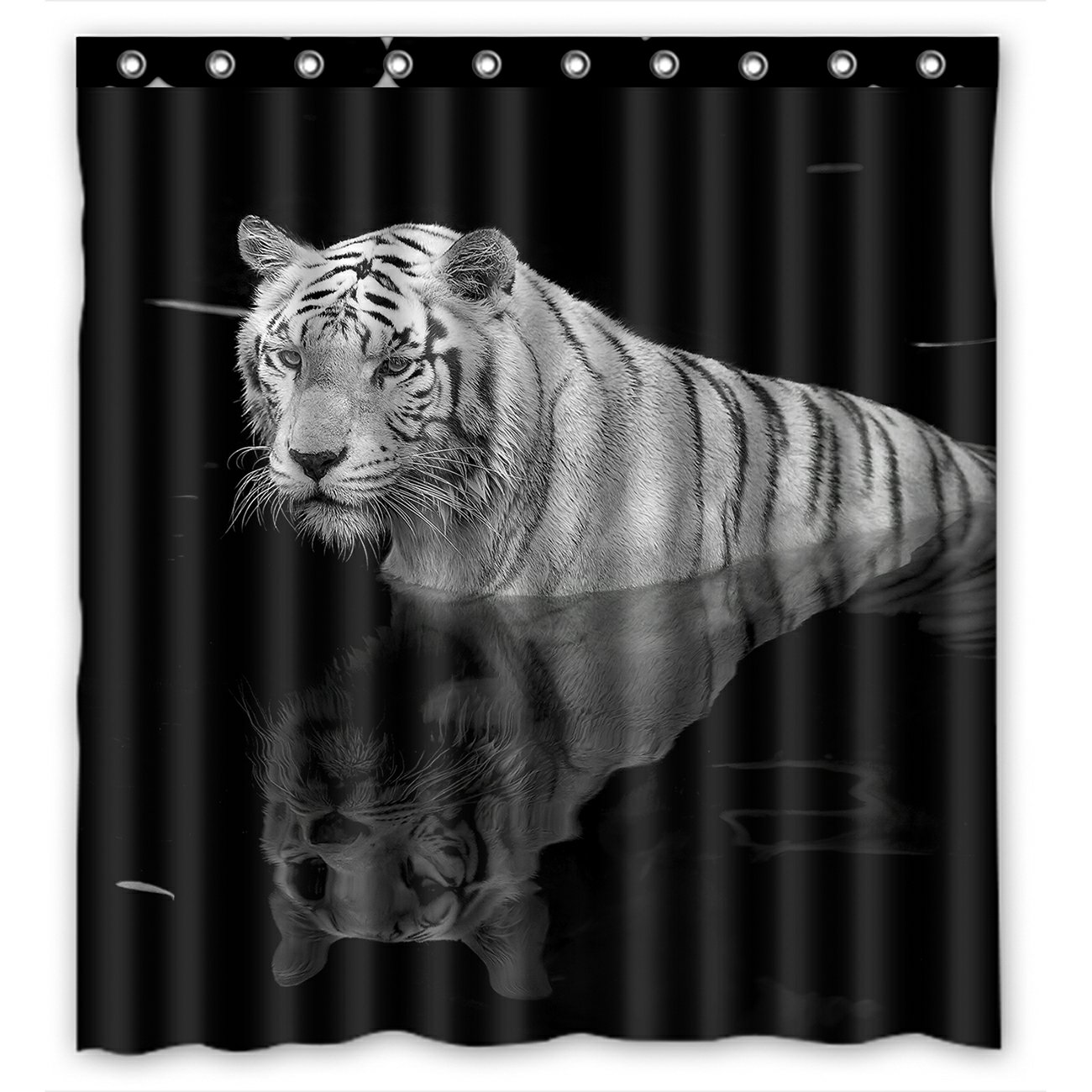 https www walmart com ip phfzk animal shower curtain black and white tiger standing in water polyester fabric bathroom shower curtain 66x72 inches 748775669