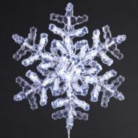 "12"" Lighted LED Polar White Clear Crystal Snowflake"