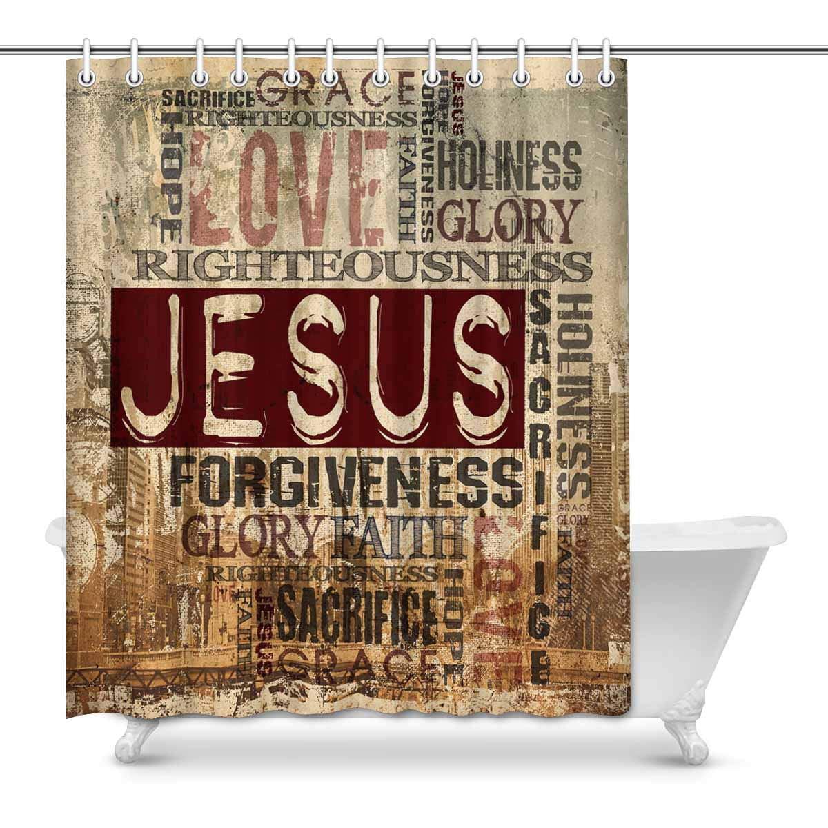mkhert christian religious bible verse words decor waterproof polyester bathroom shower curtain bath decorations hooks 60x72 inch