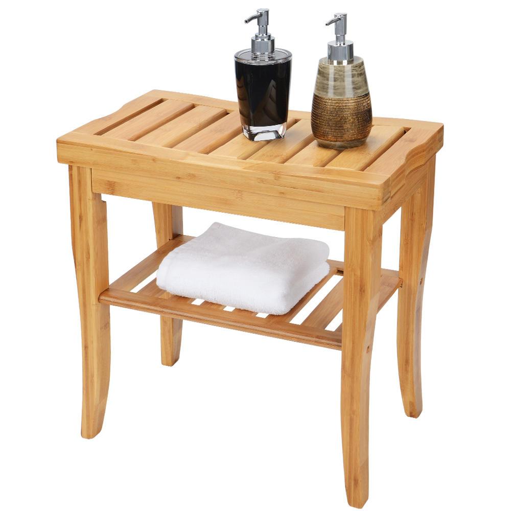 banc en bambou de siege de douche etagere de rangement de tabouret d organisateur de spa de salle de bains