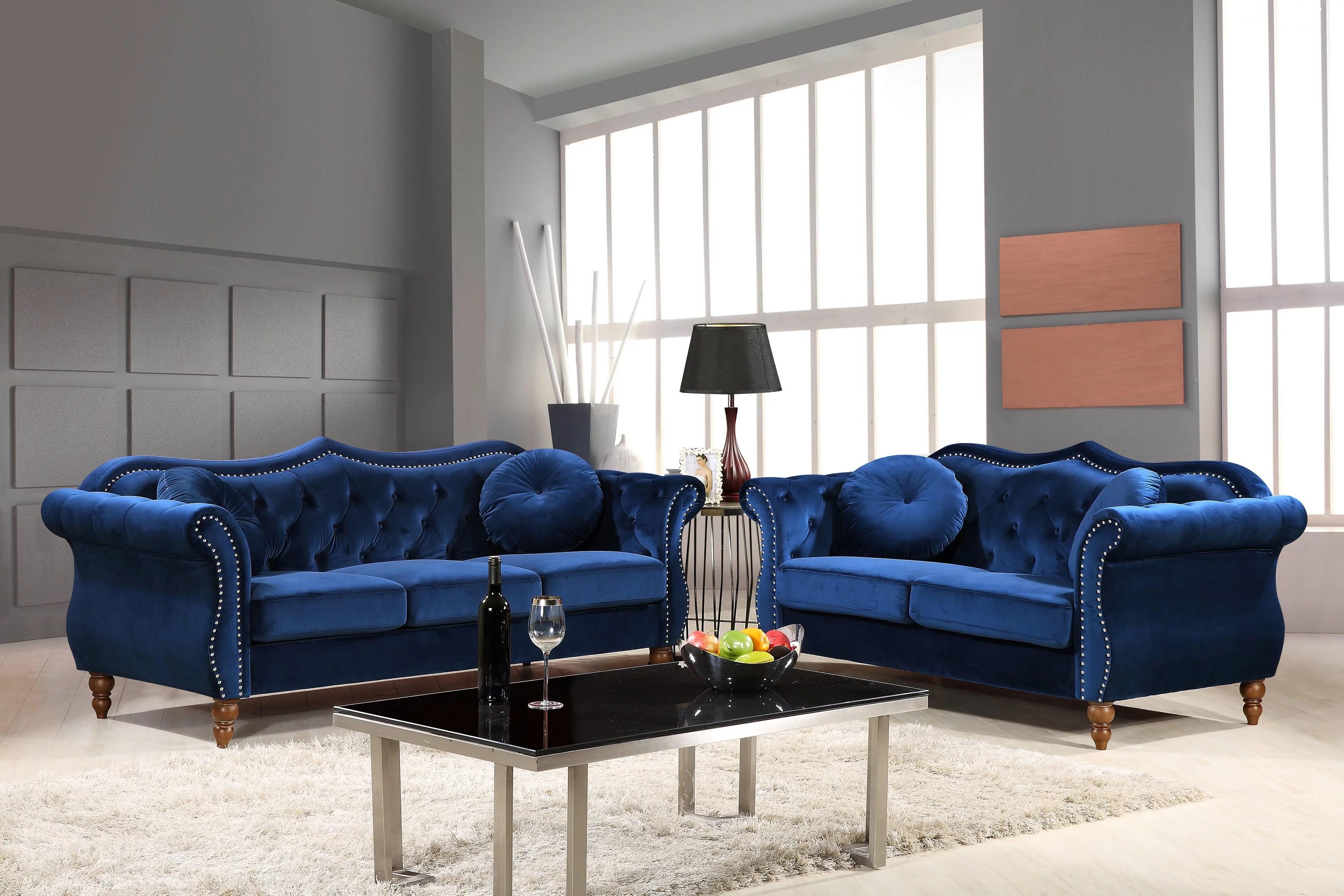 Us Pride Furniture Carbon Classic Nail Head Chesterfield 2 Piece Living Room Set Blue Walmart Com Walmart Com