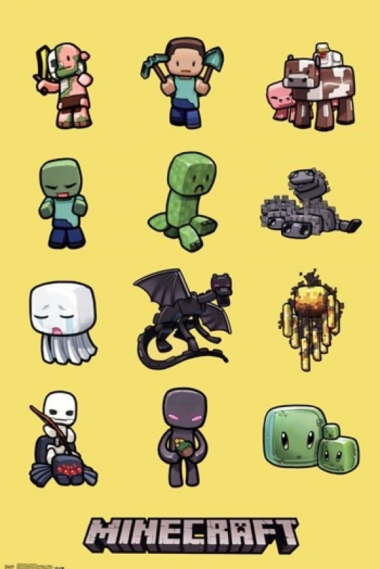 minecraft characters poster print 22 x 34