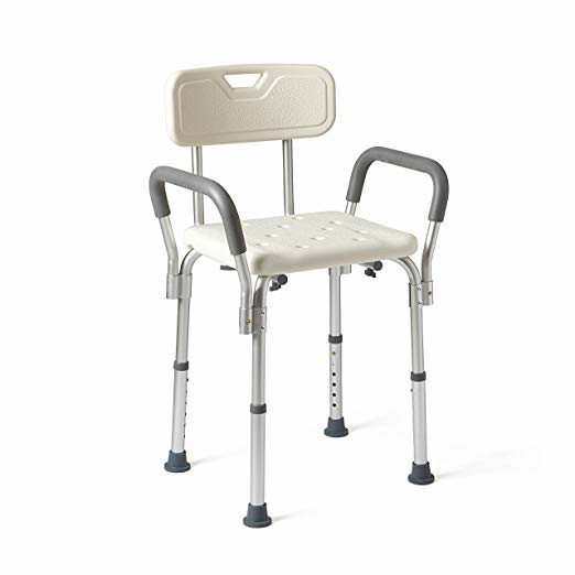 Medline Shower Chair Bath Seat with Padded Armrests and