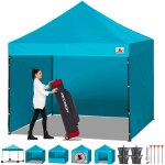 Abccanopy Canopy Tent Popup Canopy 10x10 Pop Up Canopies Commercial Tents Market Stall With 6 Removable Sidewalls And Roller Bag Bonus 4 Weight Bags And 10ft Screen Netting And Half Wall Turquoise