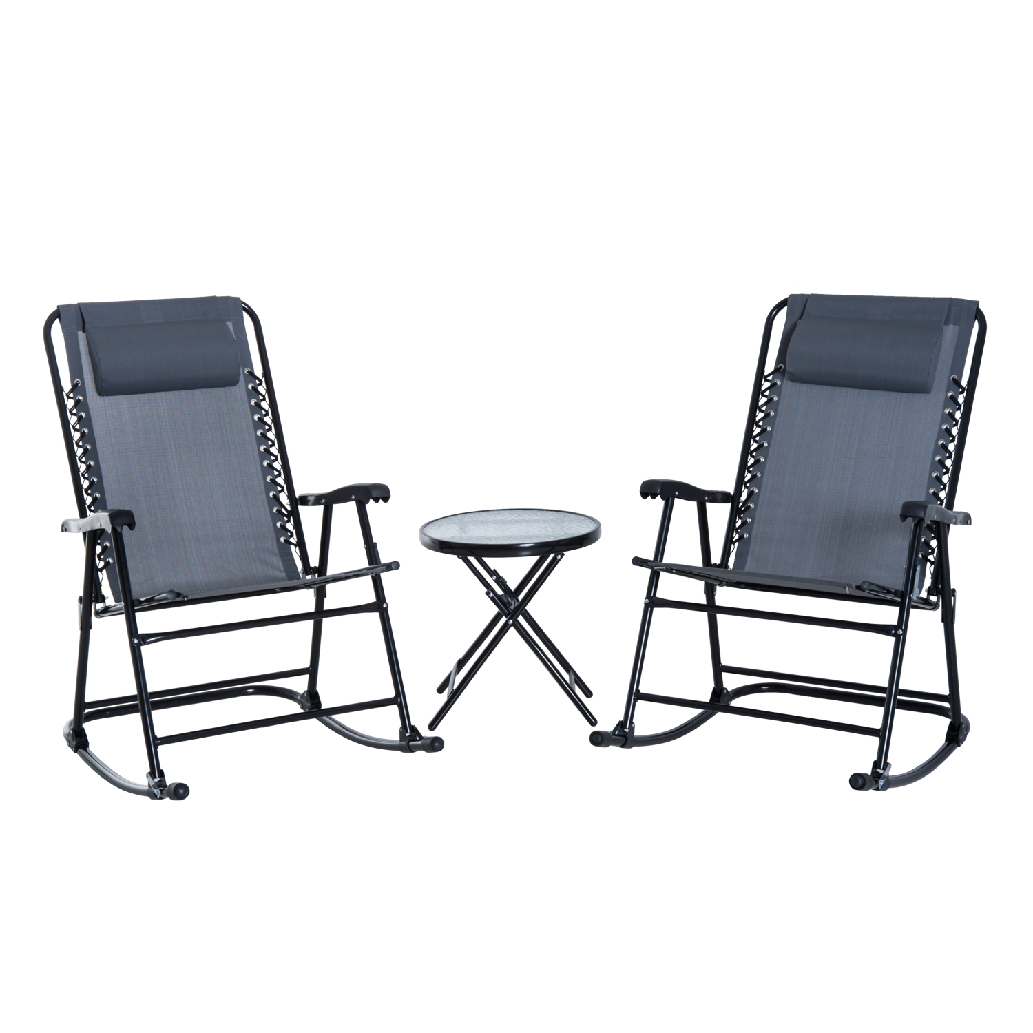 Outdoor Rocking Chair Set Outsunny Folding Outdoor Rocking Chair Set With Side Table