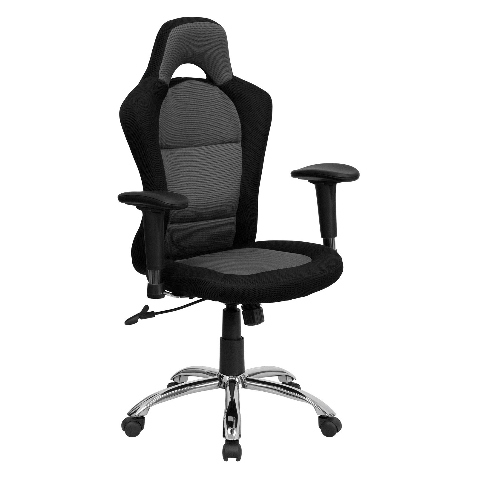 Racing Seat Office Chair Race Car Style Bucket Seat Office Chair With Arms Black And Gray