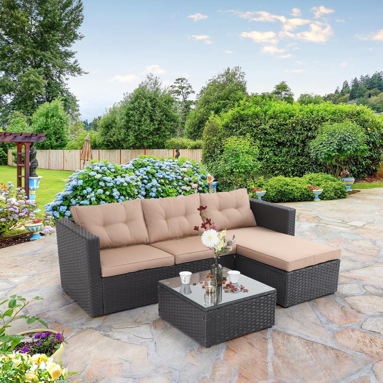 mf studio 3 piece outdoor sectional rattan sofa wicker patio furniture set beige