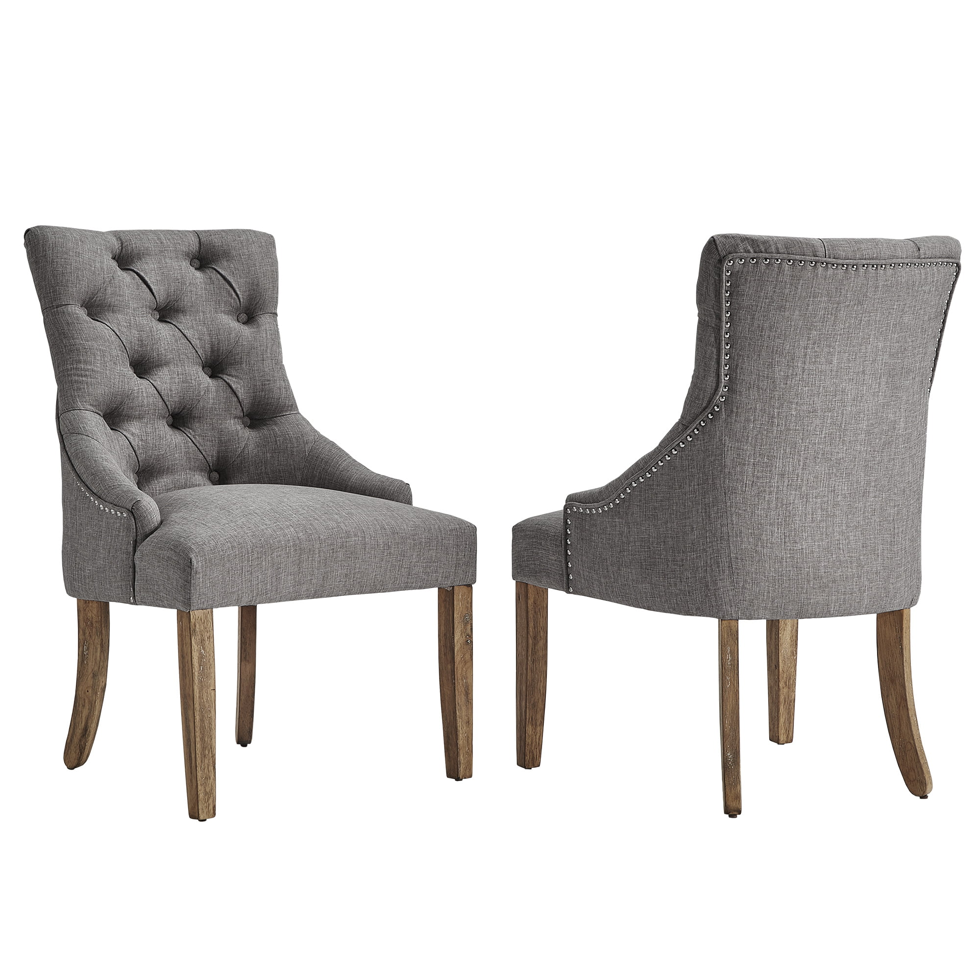 Chelsea Lane Curved Back Linen Tufted Dining Chair Set Of 2 Multiple Colors