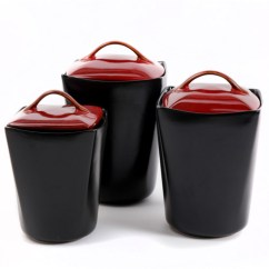Kitchen Canisters Ceramic Shelf Unit Gibson Home Soho Lounge 3-piece Canister Set, Red ...