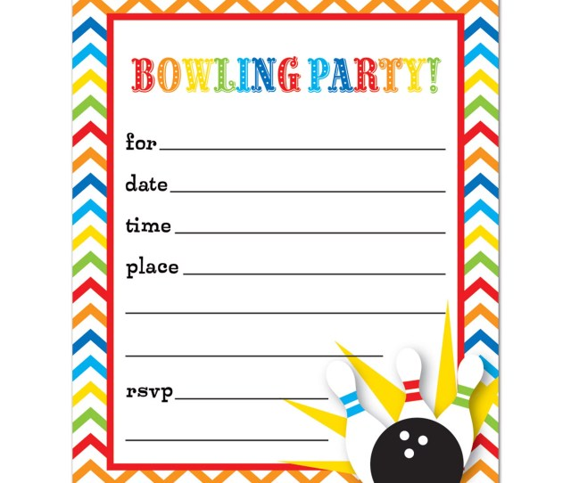Bowling Fill In Birthday Party Invitations And Envelopes  Count