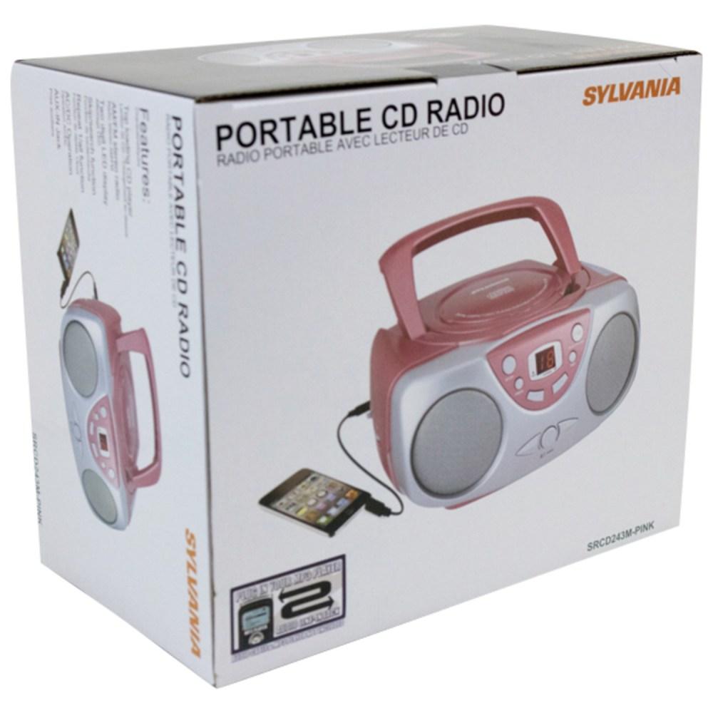 medium resolution of sylvania srcd243m portable cd boom box with am fm radio black walmart com