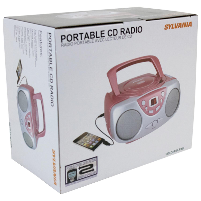 hight resolution of sylvania srcd243m portable cd boom box with am fm radio black walmart com