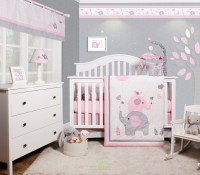 OptimaBaby Pink Grey Elephant 6 Piece Baby Girl Nursery