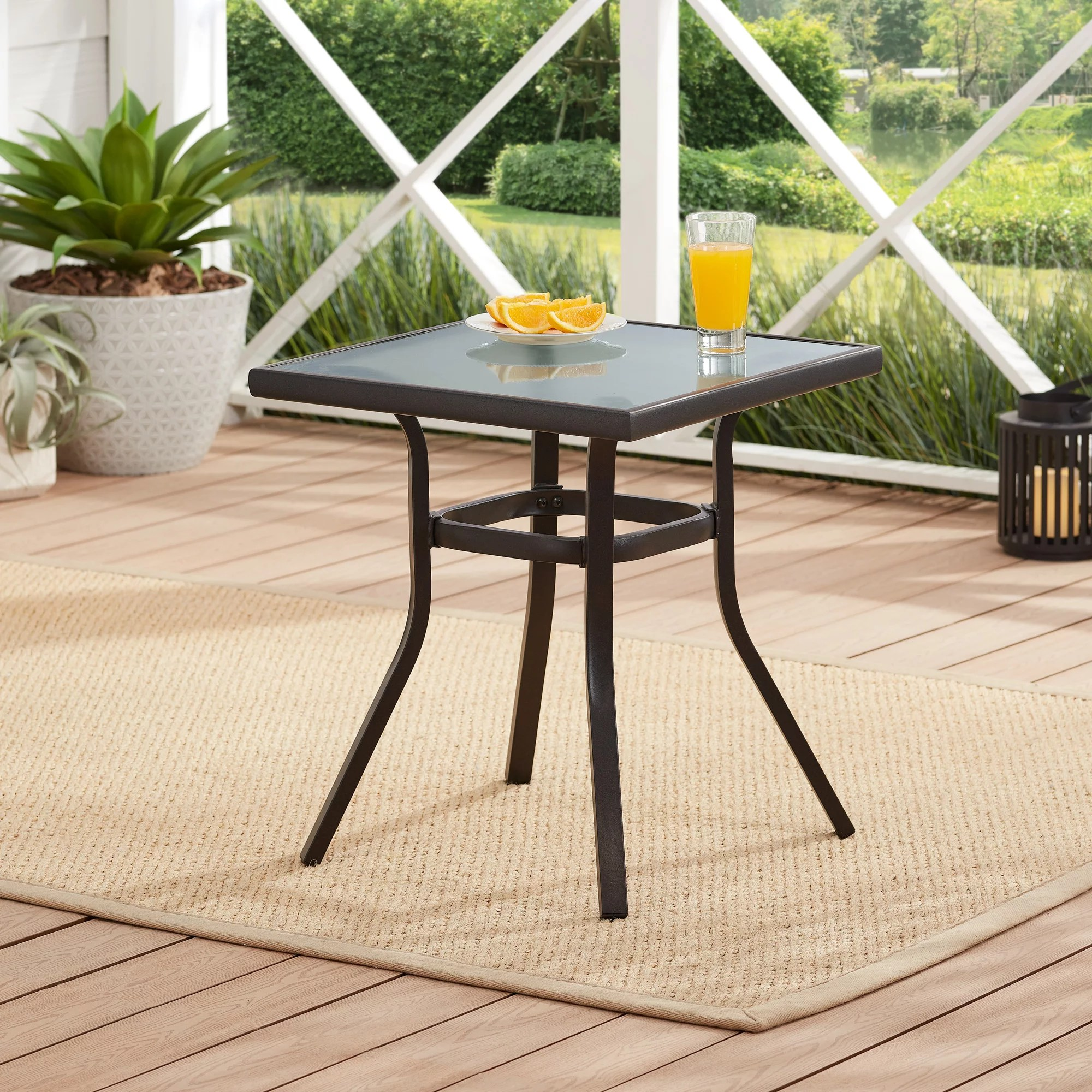 mainstays heritage park 21 square glass top outdoor patio side table black walmart com