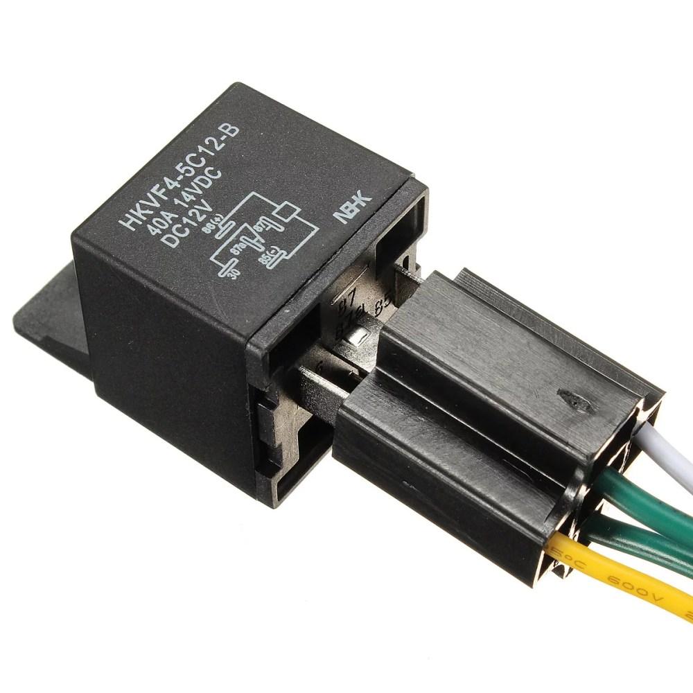 medium resolution of car auto dc 12v volt 30 40a automotive 4 pin 4 control wire relay socket 30amp 40amp walmart com