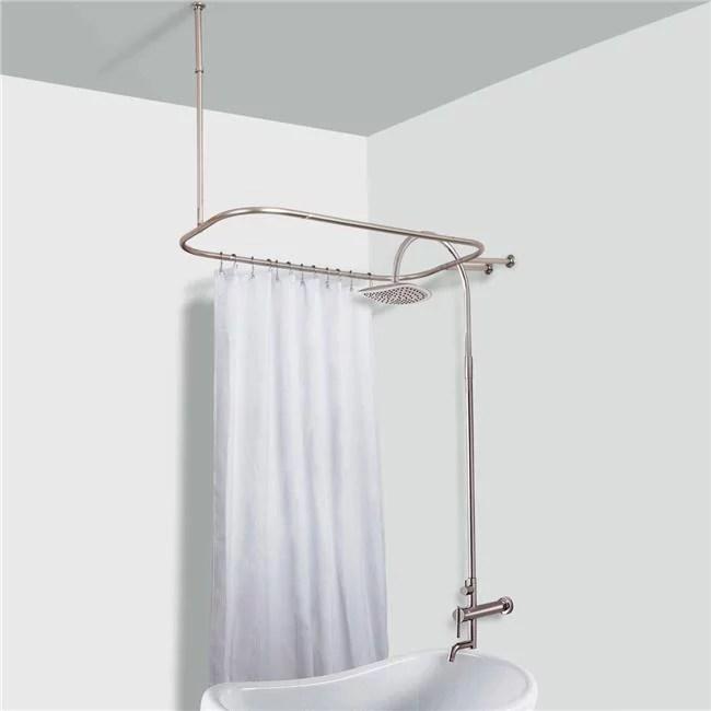 utopia alley tringle de douche hoop pour baignoire sur pattes nickel