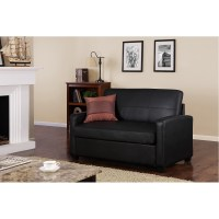 Mainstays Sofa Sleeper, Black Faux Leather - Walmart.com