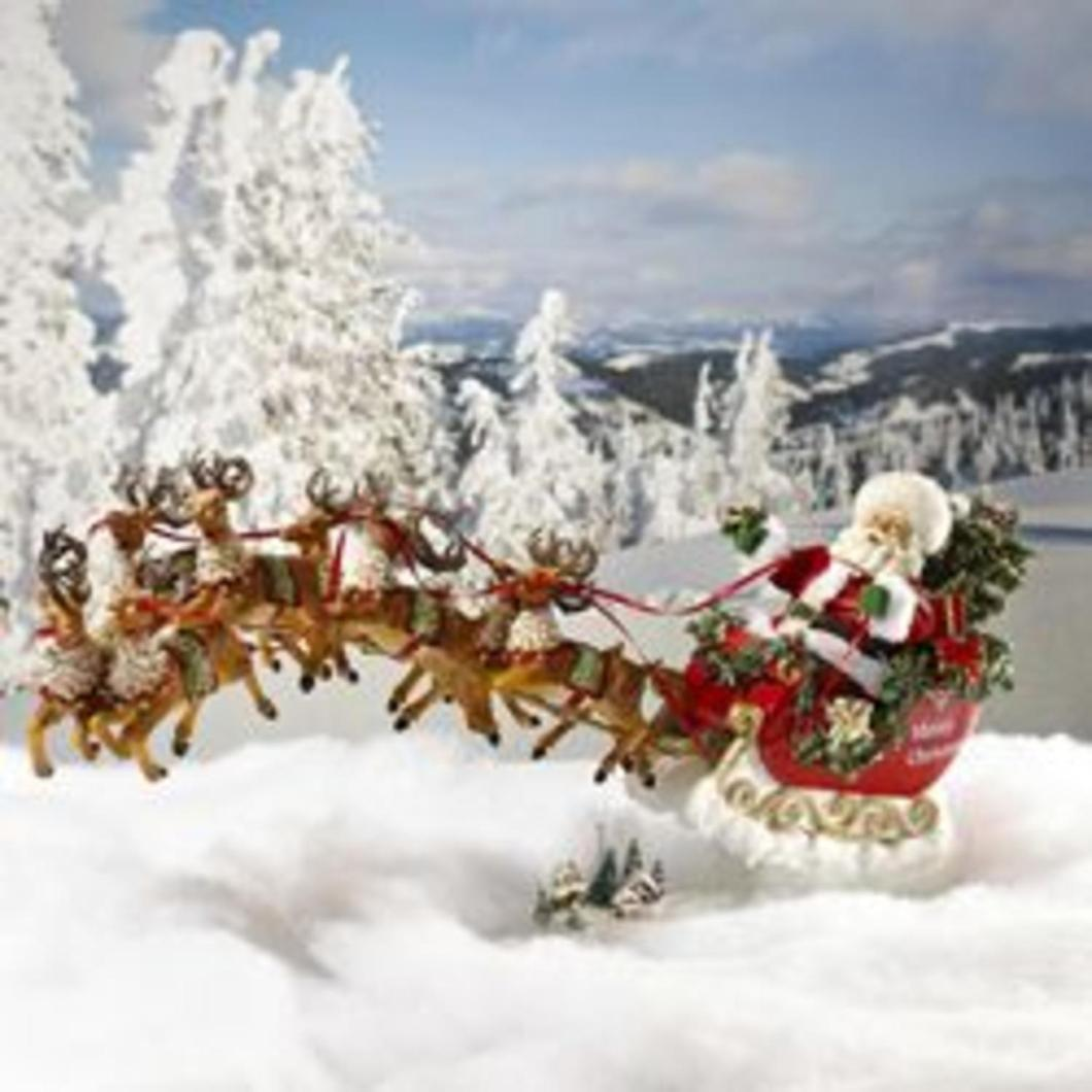 24 In Sleigh With Reindeer Musical Table Top Christmas Decoration Com