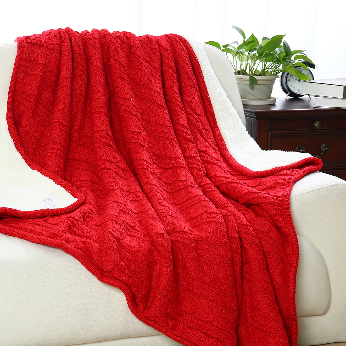 fuzzy sofa sectional ottoman cable knit reversible throw blanket with fleece for
