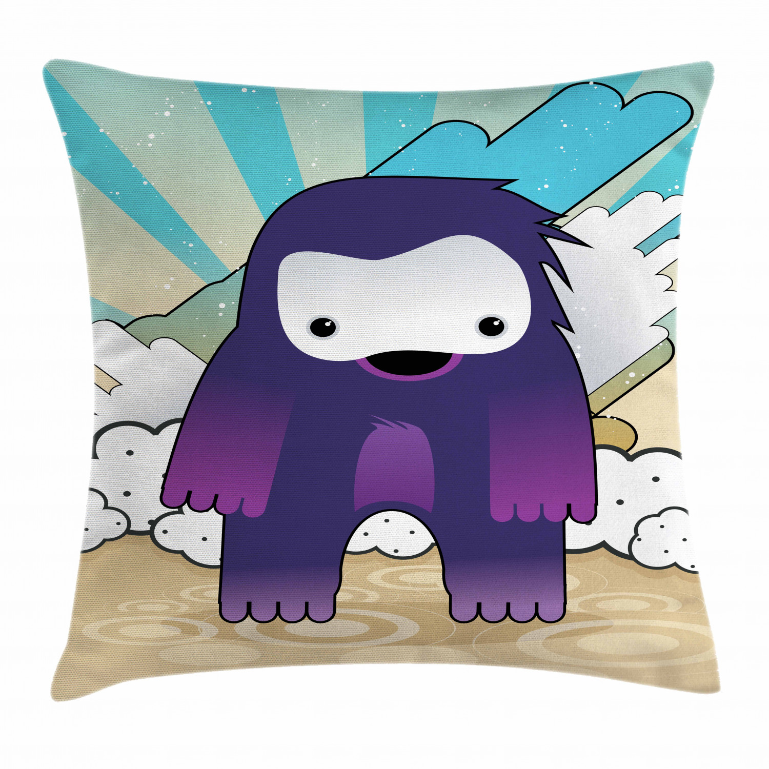 anime throw pillow cushion cover japanese manga character fantastic monster on an abstract retro style background decorative square accent pillow