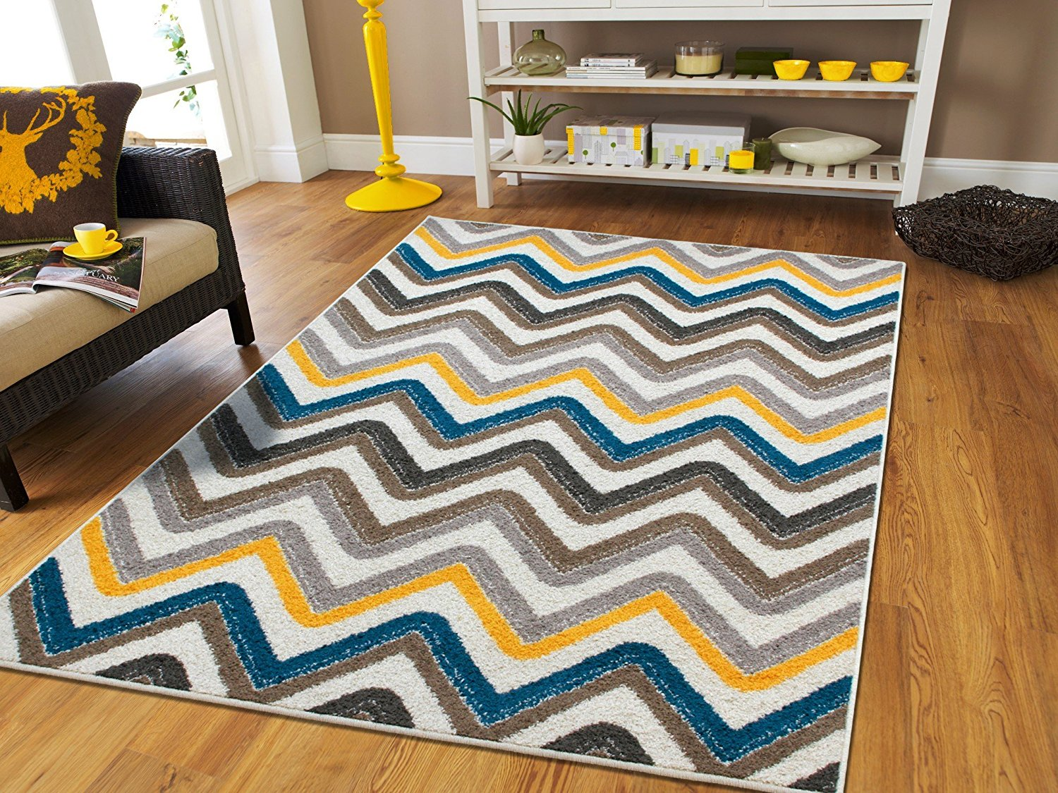 kitchen floor rugs roll around island new fashion luxury chevron for living room zig zag 2x4 contemporary rug mat blue and grey yellow beige 2x3 walmart com
