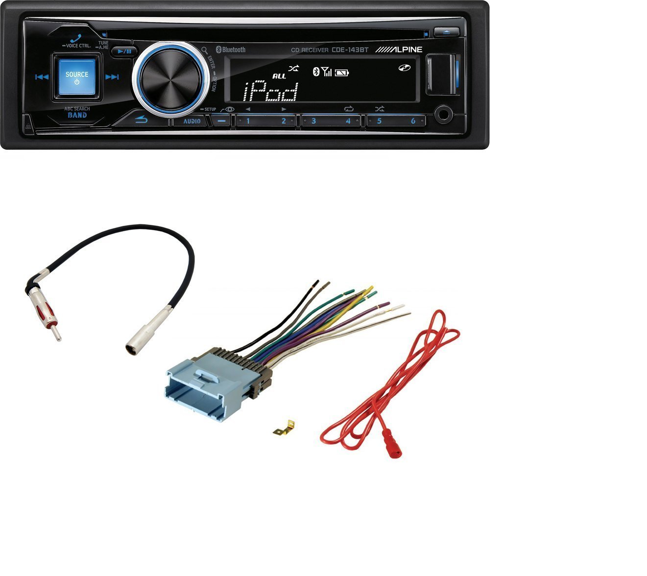 hight resolution of alpine cde 143bt cd usb mp3 wma aux ipod iphone equalizer eq bluetooth radio with stereo