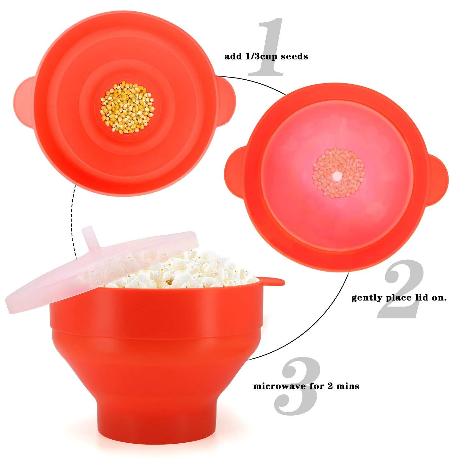korcci microwave popcorn popper bpa free silicone hot air microwavable popcorn maker bowl