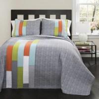 Shelly Stripe Orange/Blue Bedding Quilt Set - Walmart.com
