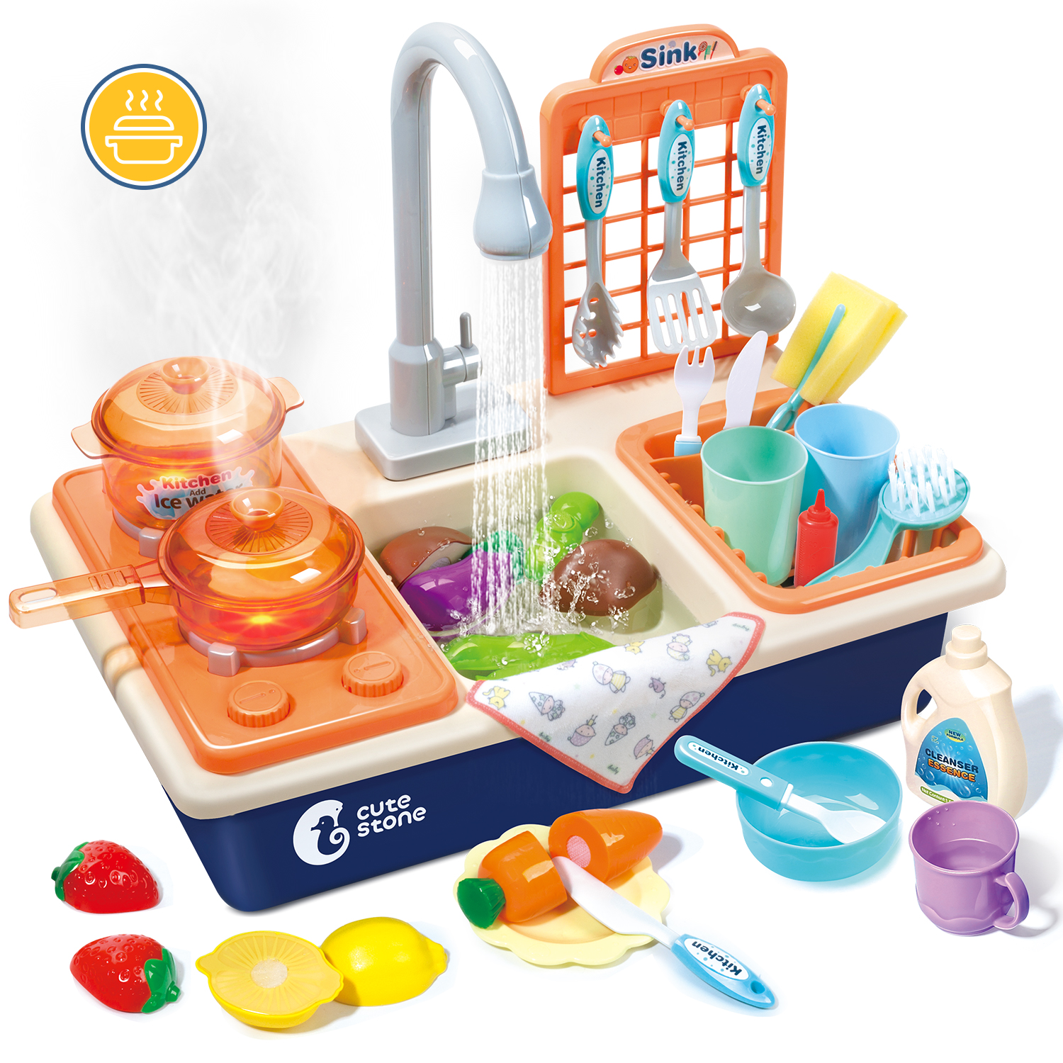 toy kitchen sink with 26 piece accessory play set sink toy for kids with running water play house role play