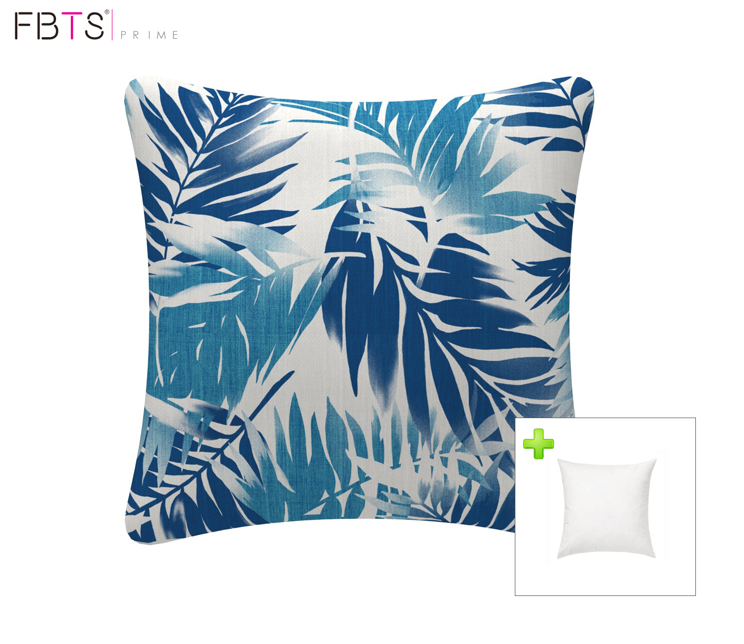 fbts prime outdoor decorative pillows with insert blue leaf patio accent pillows throw covers 18x18 inches square patio cushions for couch bed sofa