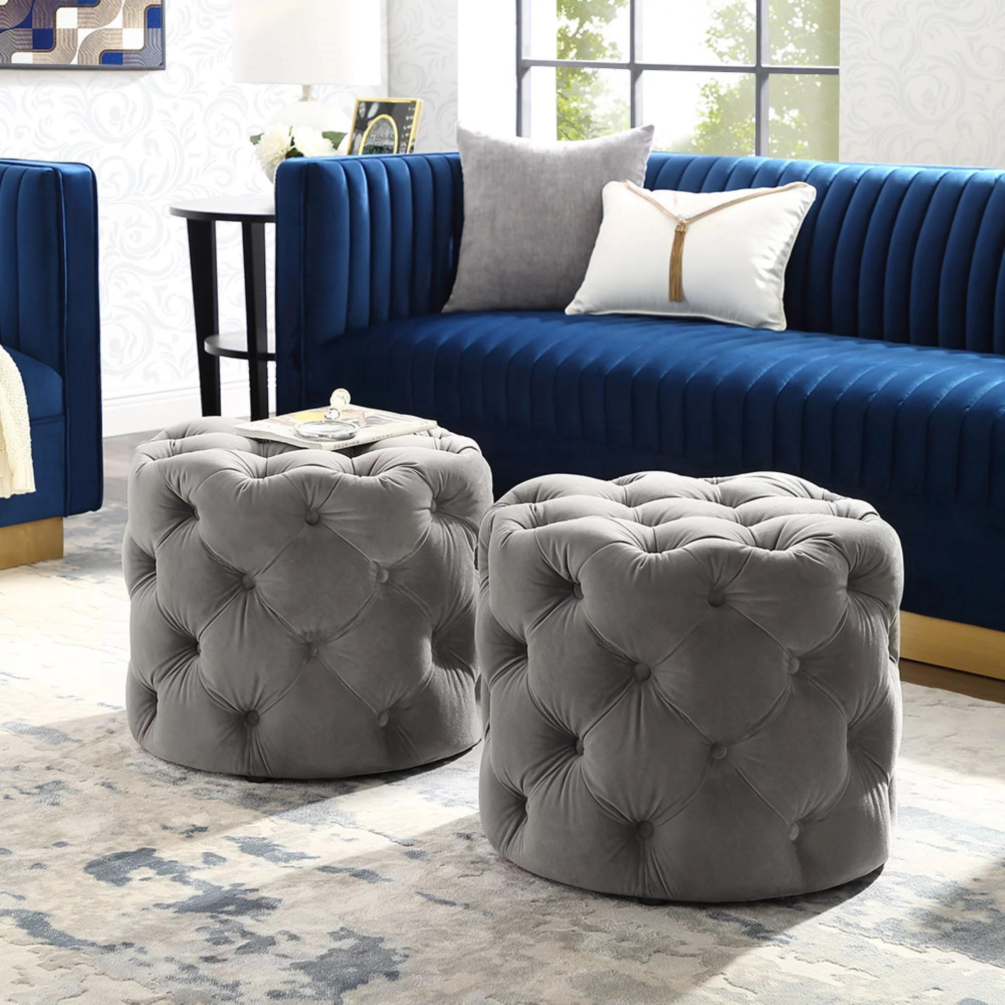 inspired home perilous velvet ottoman allover tufted round modern contemporary 1 pc grey