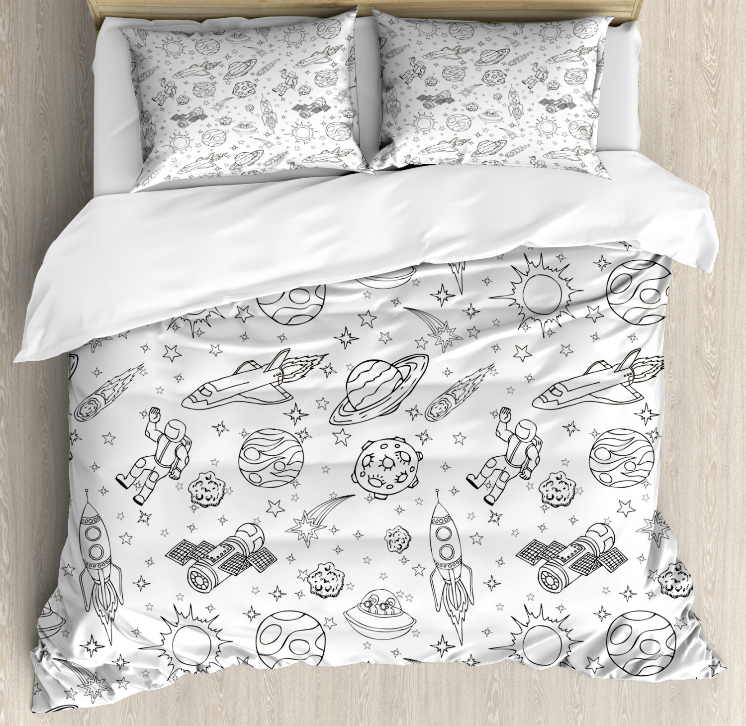 boy s duvet cover set doodle solar system astronauts space crafts and shooting stars science fiction theme decorative bedding set with pillow shams