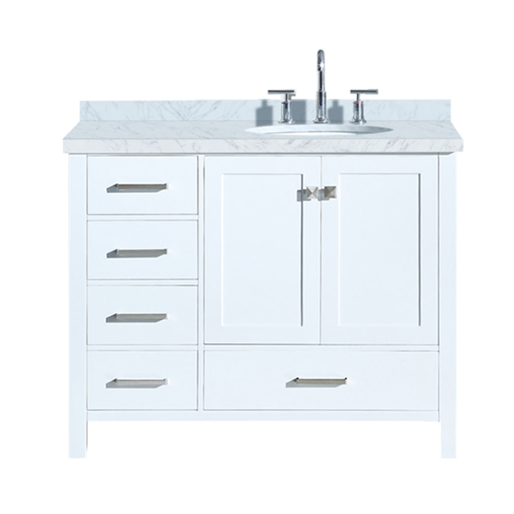 ariel cambridge 43 in bath vanity in white with marble vanity top in carrara white with white basin