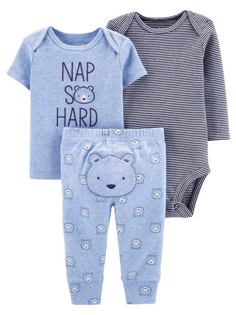 Child of Mine by Carter's Baby Boy Outfit Long Sleeve Bodysuit, T-Shirt & Pants, 3-Piece
