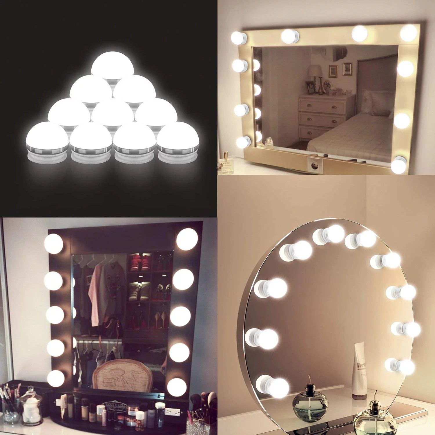 coolmade vanity lights kit hollywood style makeup light bulbs with stickers attached to bathroom wall or dressing table mirrors with dimmable switch
