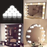 Vanity Lights For Mirror Diy Hollywood Lighted Makeup Vanity Mirror With Dimmable Lights Stick On Led Mirror Light Kit For Vanity Set Plug In Makeup Light For Bathroom Wall Mirror 10 Bulb