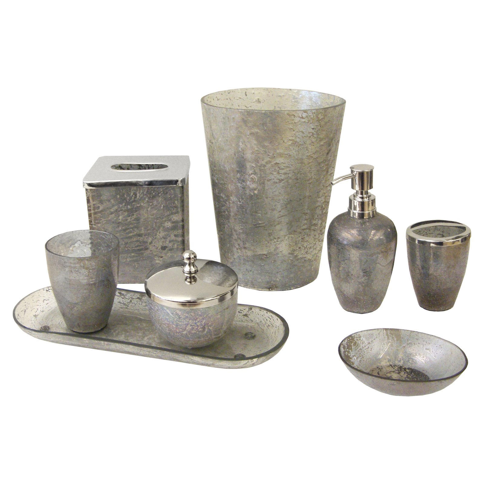 Paradigm Trends 8 Piece Lava Grey Bathroom Accessories Set Walmart Com Walmart Com